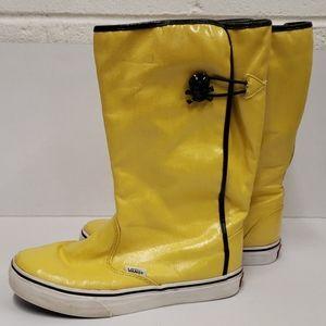 Vans Yellow Rain Boots with Skull Closures 6.5